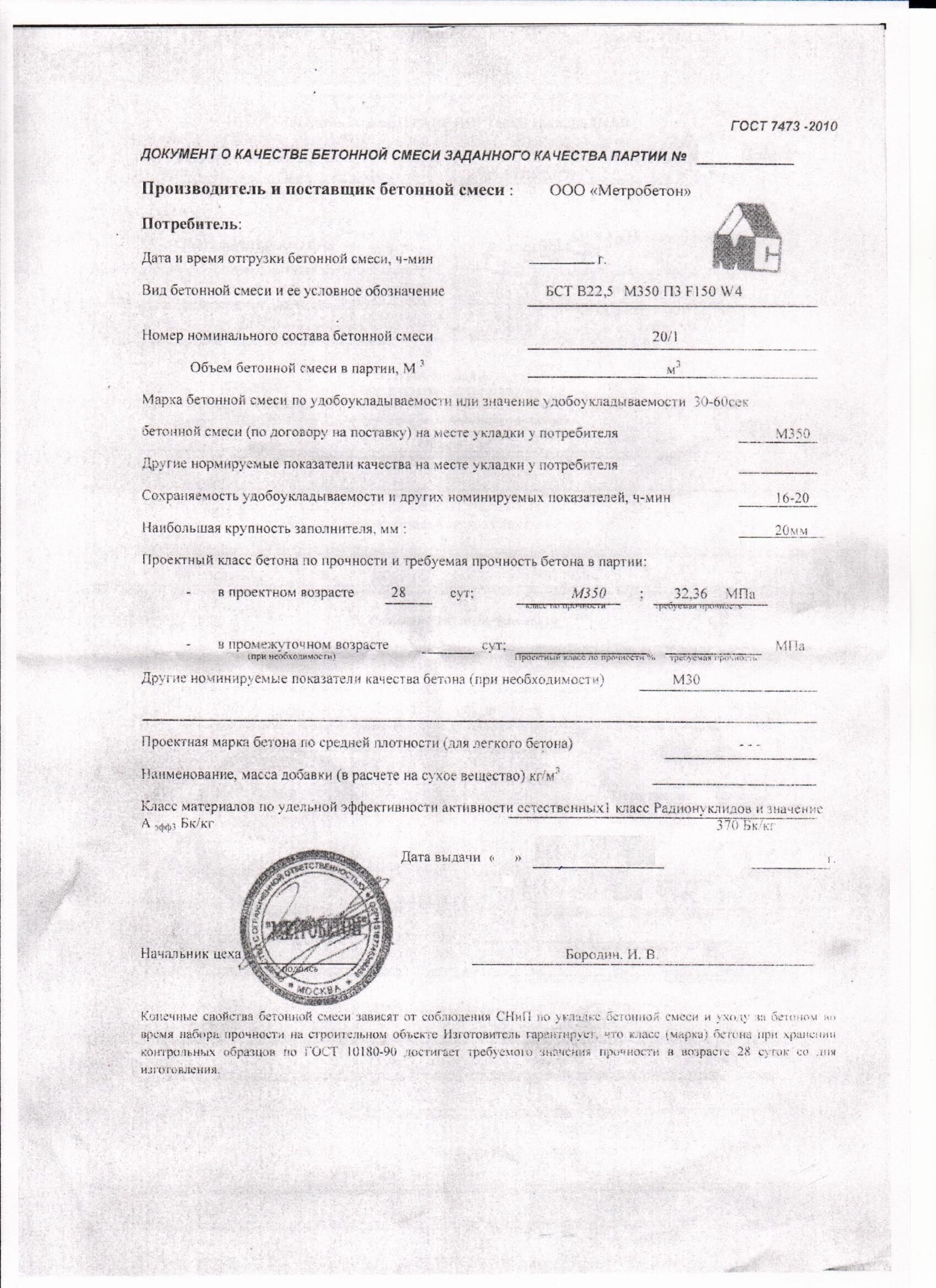 паспорт бетон м300
